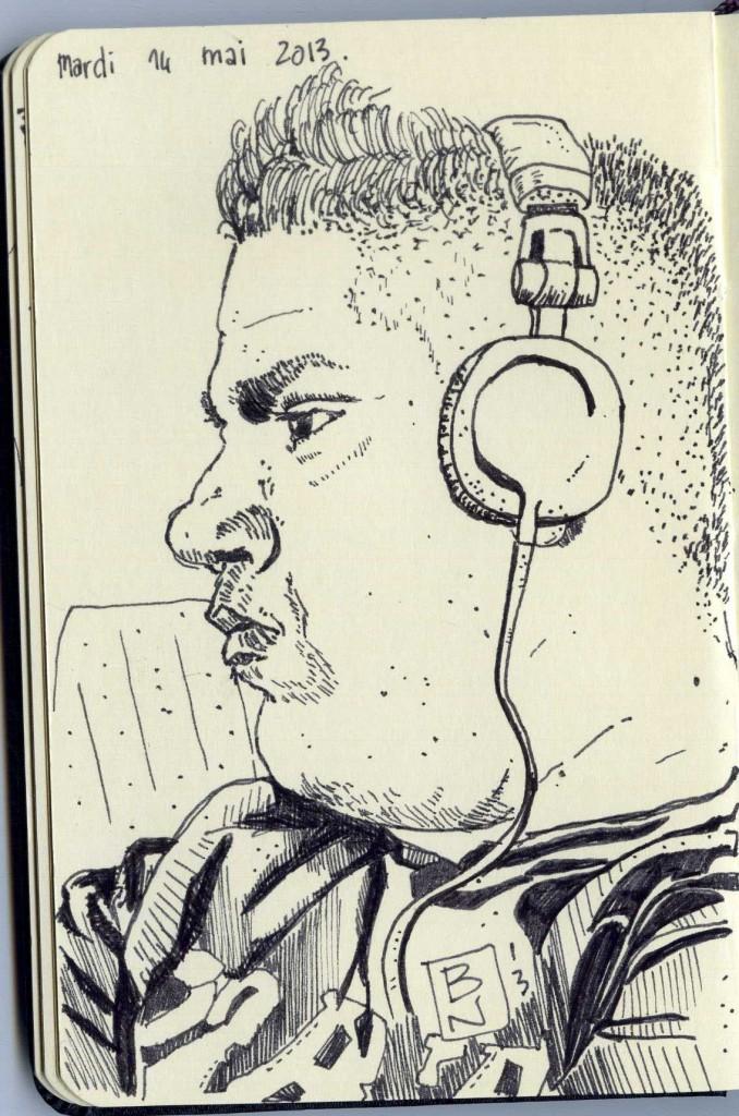 dude listening music