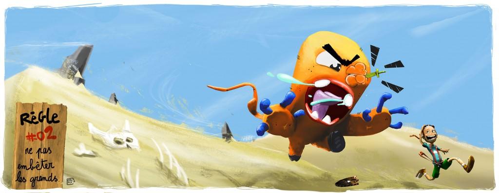 monster running after adventurer